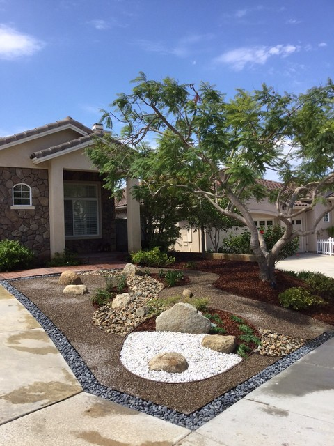Zen front yard landscaping : Southwest boulder stone garden landscape supplies