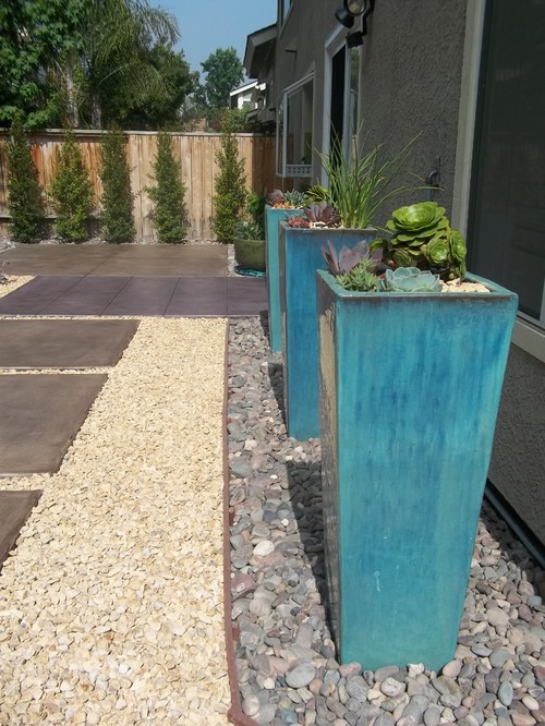 blue glazed planters on houzz