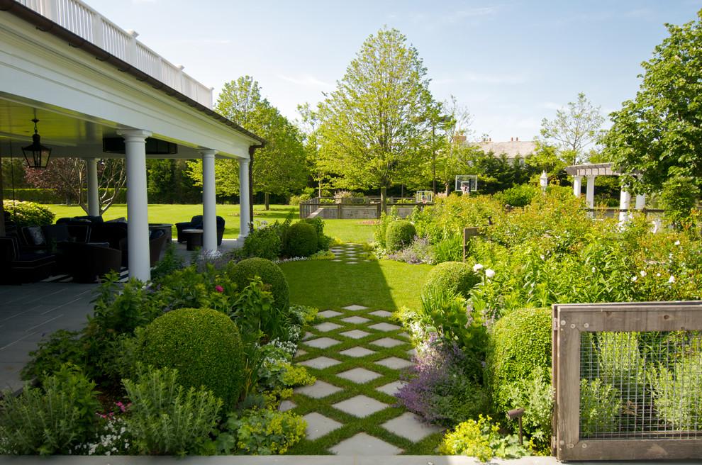 Design ideas for a traditional backyard formal garden in New York.