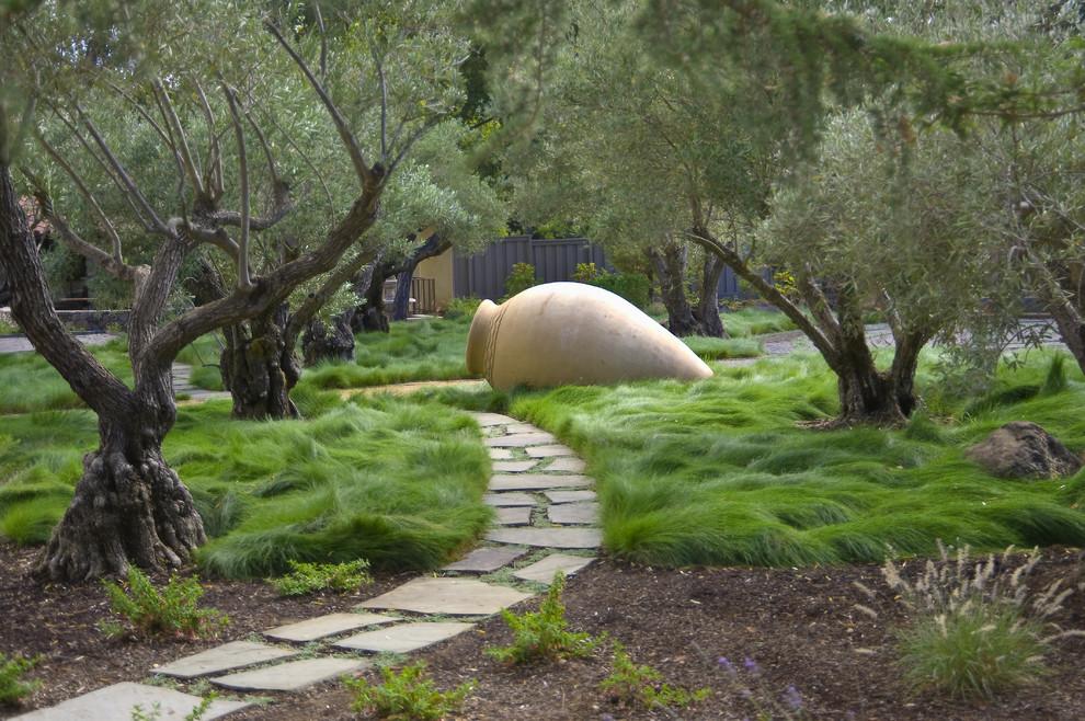 Design ideas for a contemporary backyard stone landscaping in San Francisco.