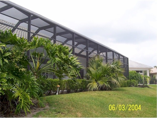 Landscaping Ideas Around Screened Pool : Screen pool patio enclosure tropical landscape