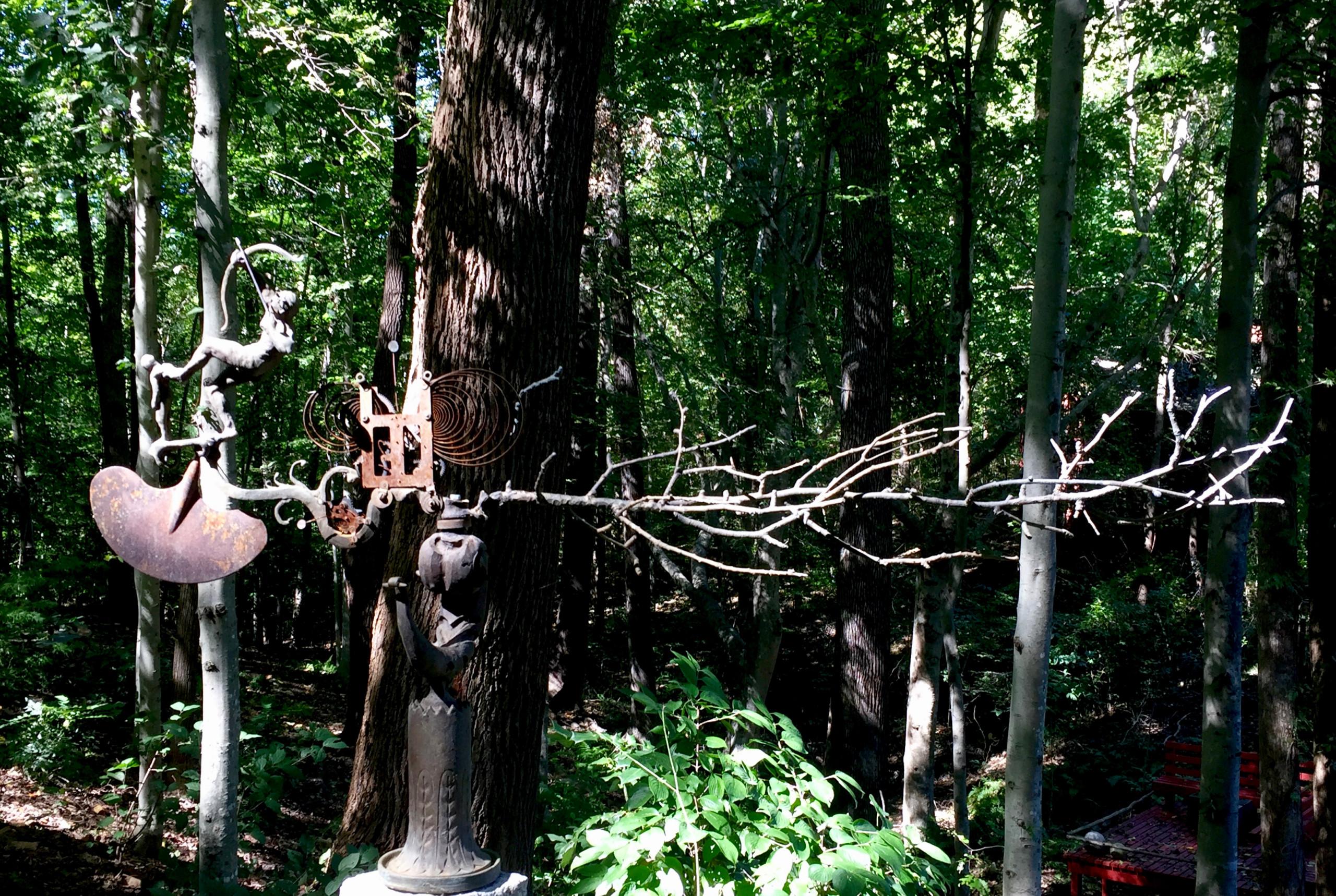Sculpture at the garden entrance