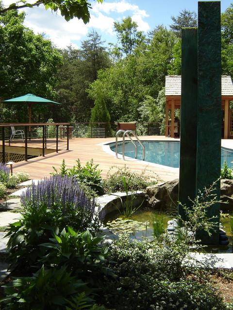 Sculpture Garden & Pool rustic-landscape