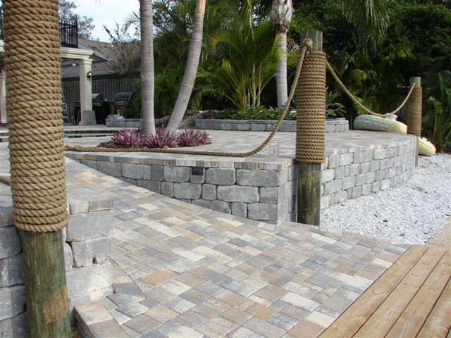 Sea Wall Pavers - Tropical - Garden - Tampa - by Design