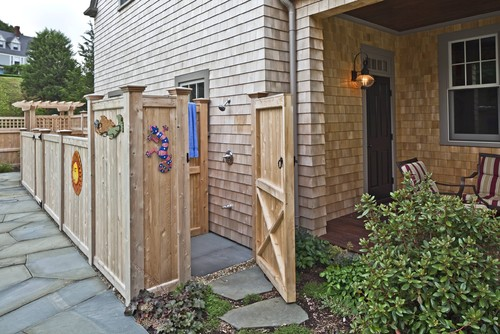 Are the plumbing fixtures manufactured for outdoor showers?