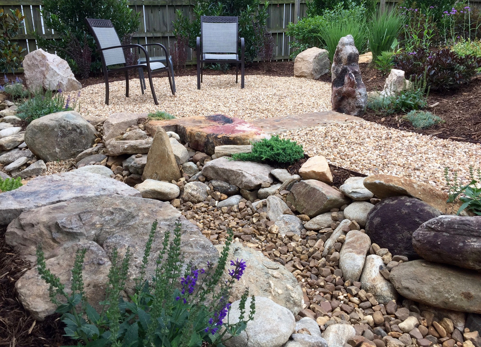 Seating area and creek bed