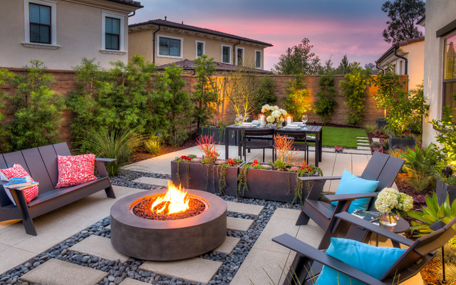 Seating With Fire Pit Modern Garden Orange County By