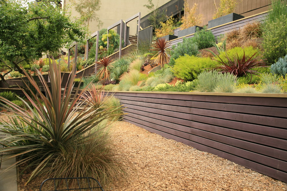 Inspiration for a large modern drought-tolerant and partial sun backyard concrete paver retaining wall landscape in San Francisco.
