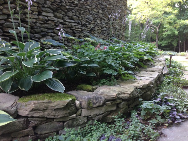 Fieldstone Walls Landscaping : Shade garden and pennsylvania fieldstone retaining wall