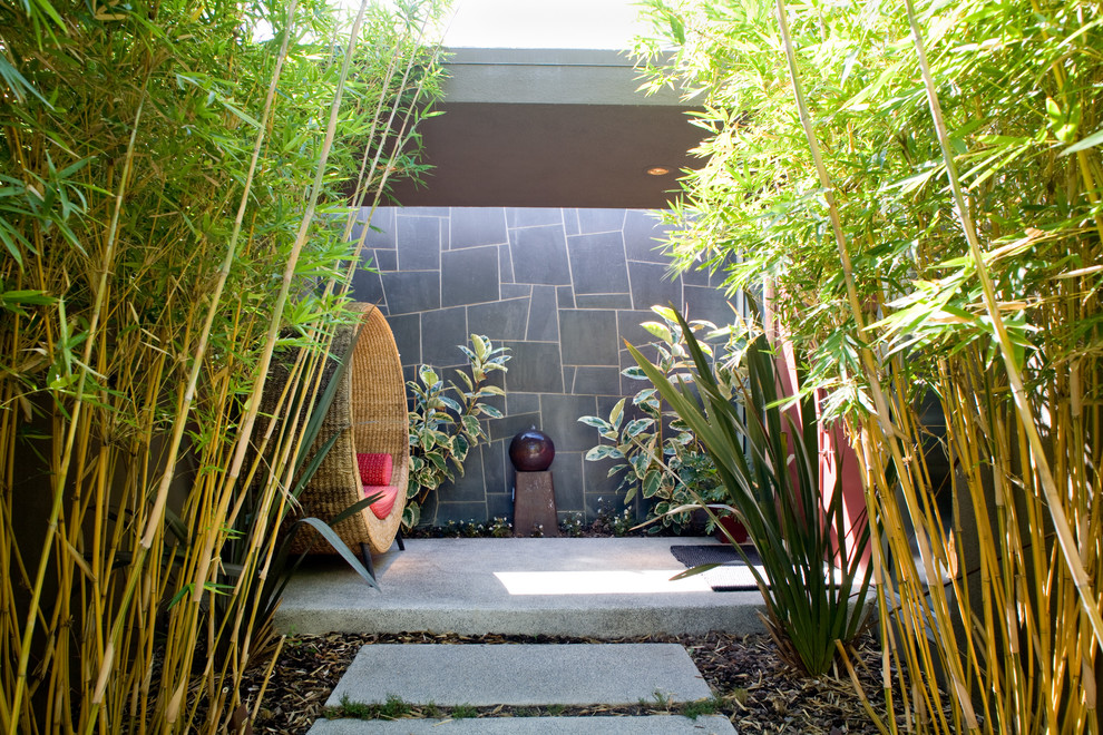 Inspiration for a contemporary courtyard water fountain landscape in Los Angeles.