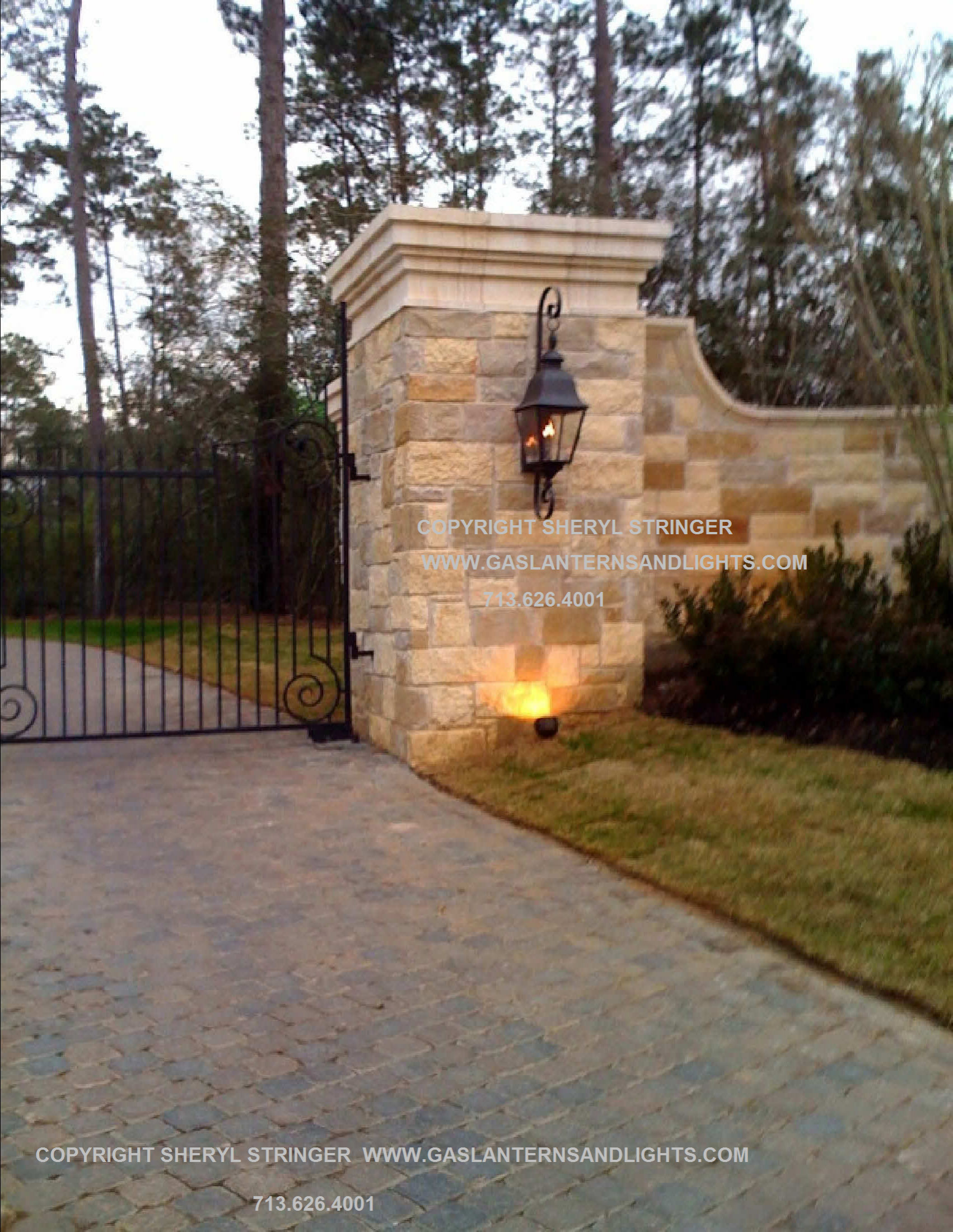 Sheryl's Tuscan Gas Lantern with Curls