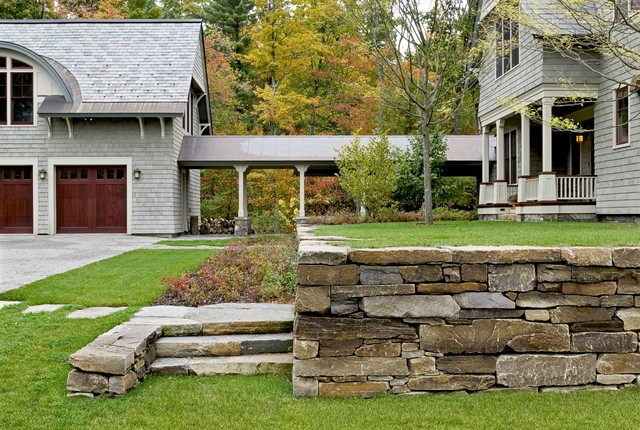 Shingle style home in Hanover NH traditional-landscape