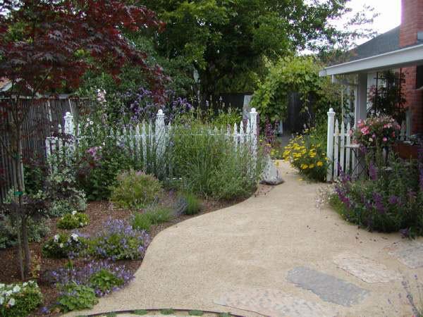 Side Yard Patio Cottage Style Mediterranean Landscape