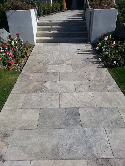 Silver 16x24 Travertine Landscape Pavers Walkway And Courtyard Mediterranean Garden