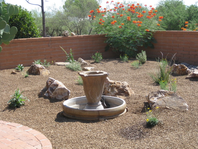 Simple easy care backyard southwestern landscape for Easy to care for landscaping ideas