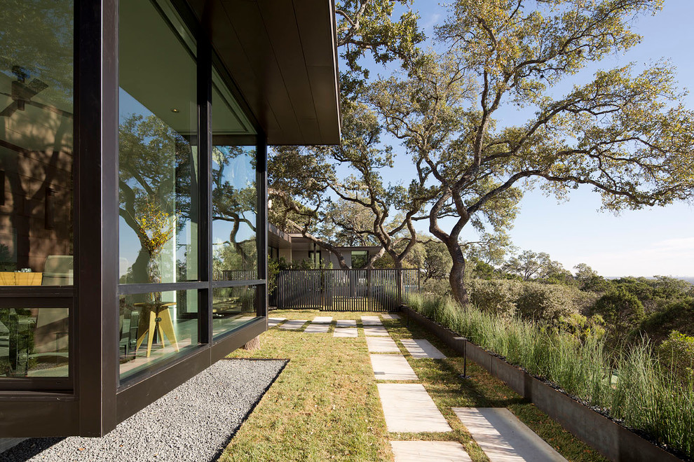 This is an example of a contemporary side yard landscaping in Austin.