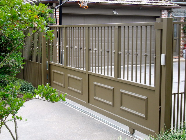 Slide Gate American Traditional Garden Houston By Architectural Fabricators