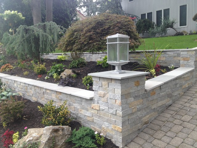 Landscaping A Sloping Driveway : Sloped driveway garden retaining walls transitional landscape new york by sjm tile