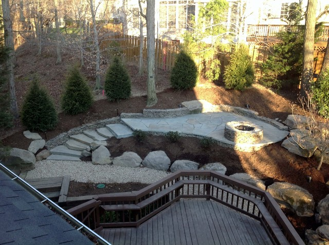 Sloped yard private patio waterfall traditional for Pool design sloped yard