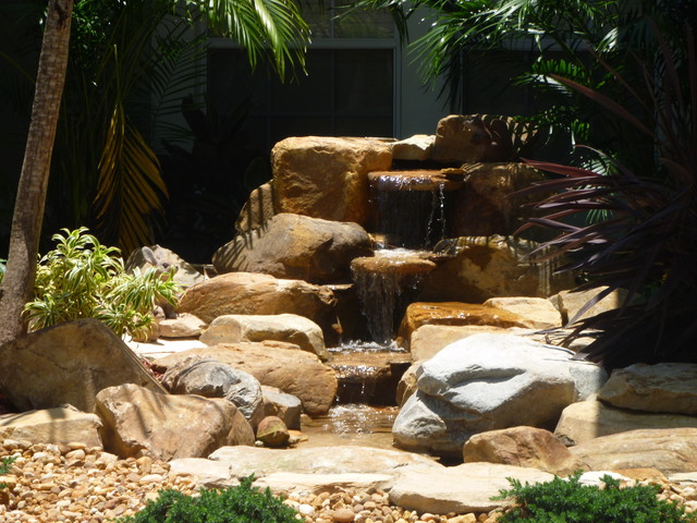 Small Garden Waterfall And Pond In Coral Springs Florida
