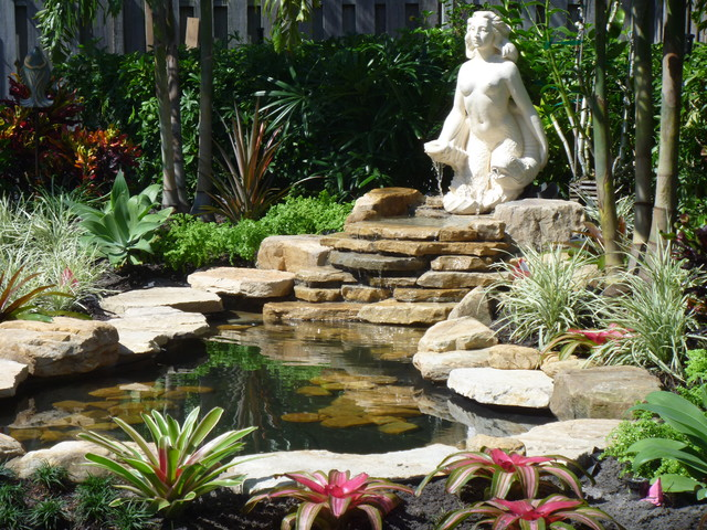 Small Garden Waterfall In Fort Lauderdale Florida Traditional Landscape Other Metro By
