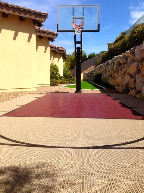 Small home backyard with snapsports outdoor basketball for Small basketball court