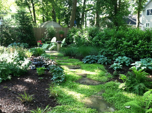 Small shady backyard traditional landscape new york by harmony design group Beautiful and shady home garden design ideas