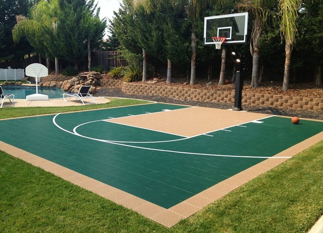 How much to build a basketball court in backyard outdoor for Outdoor basketball court template