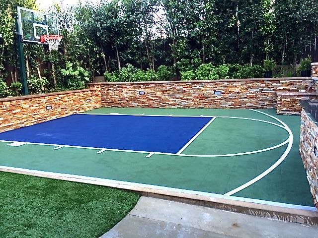 Snapsports cool little backyard basketball court install for Backyard sport court