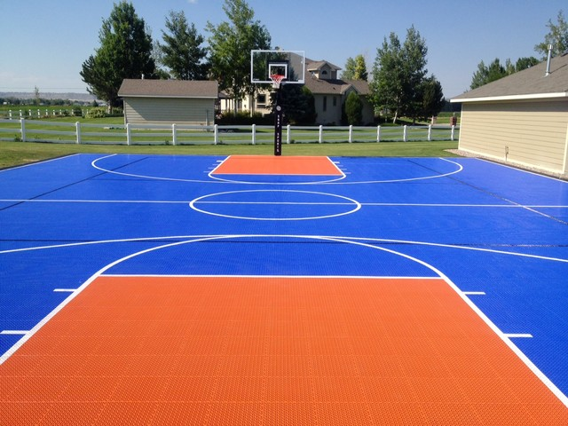 Snapsports montana home court landscape by Basketball court installation cost