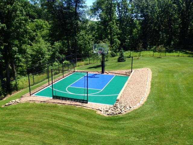 snapsports small backyard home basketball court landscape by