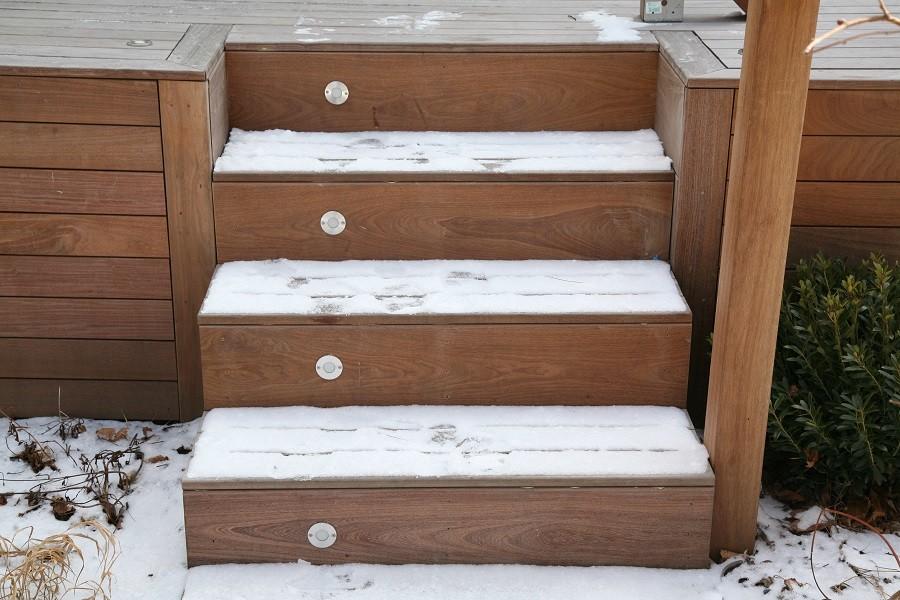 Snow dusting on ipe steps