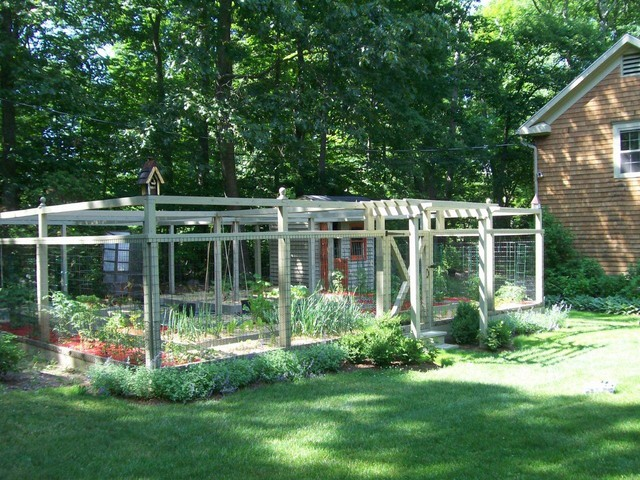 photo of a traditional vegetable garden landscape in new york - Deer Proof Vegetable Garden Ideas