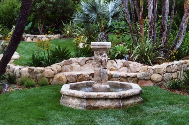 Spanish style eight sided garden fountain mediterranean - Spanish style water fountains ...