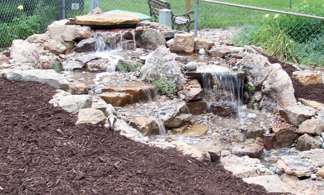 Split Stream Pondless Waterfall Asian Landscape