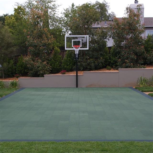 Sport Court And Basketball Hoop