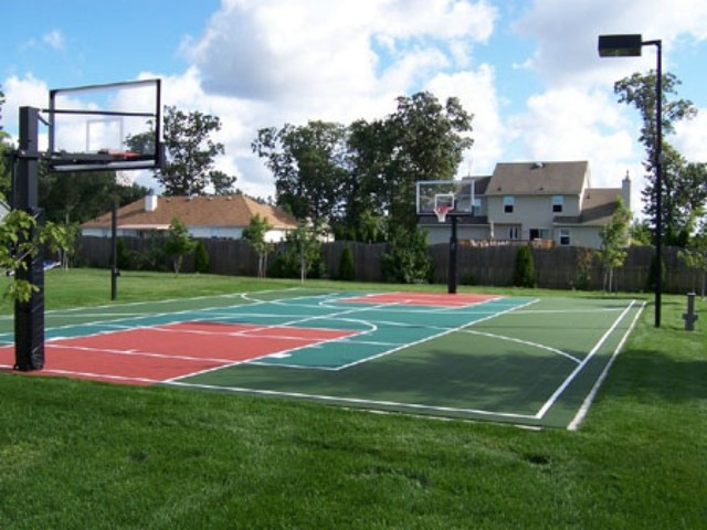 outdoor basketball court traditional landscape ideas