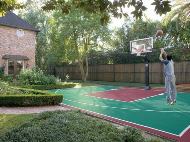 outdoor basketball half court 2 traditional landscape
