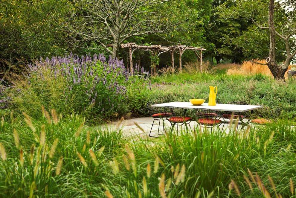 Inspiration for a contemporary backyard stone landscaping in New York.