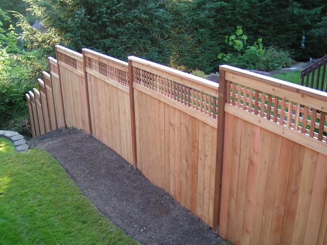Square Lattice Top Custom Cedar Fence
