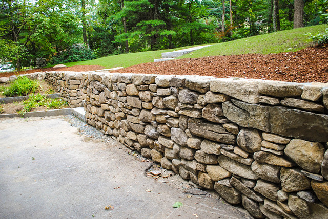Natural Stone Walls : Stacked stone wall traditional landscape boston by
