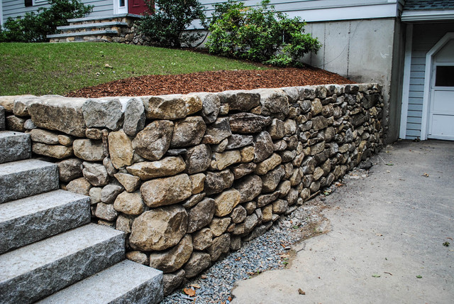 Granite Stone Walls : Stacked stone wall traditional landscape boston by
