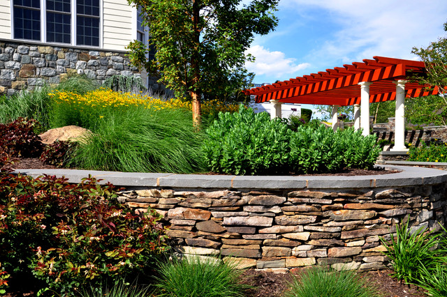 Stacked Stone Wall With Limestone Caps Traditional