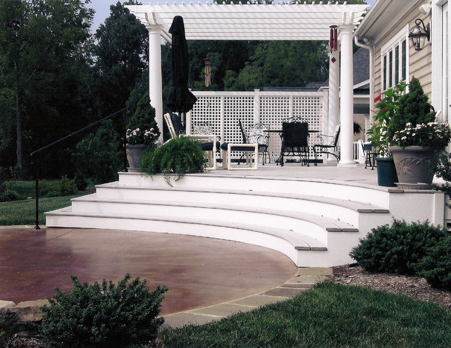 Stained Concrete Patio, Deck & Pergola contemporary landscape