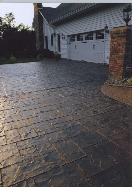 Stamped Concrete Driveway Overlay Modern Landscape