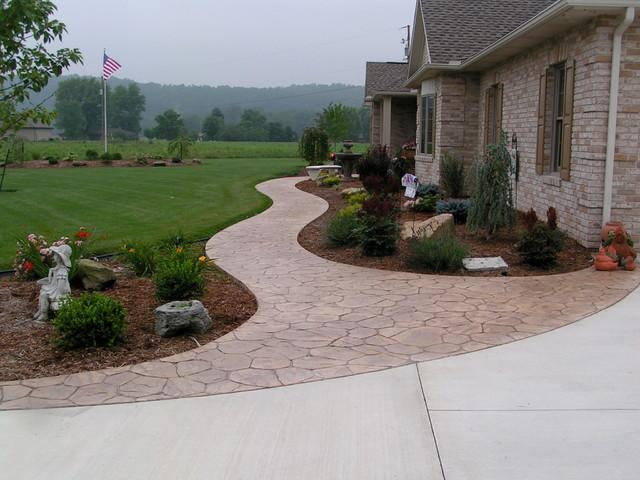 Stamped Sidewalks Traditional Landscape Cleveland