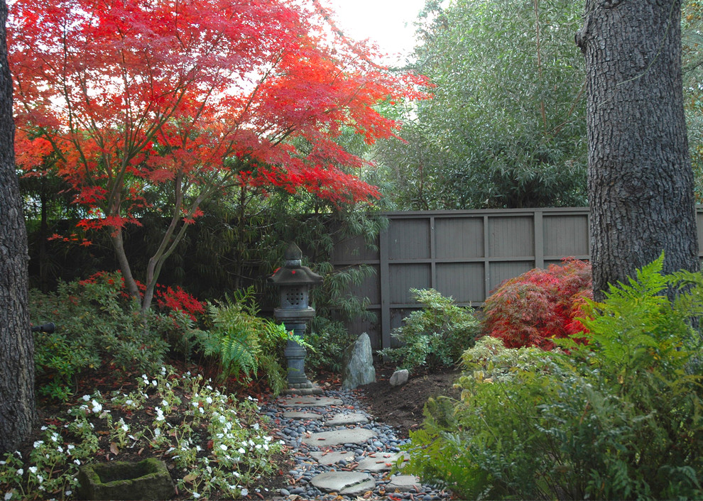 Inspiration for an asian stone landscaping in San Francisco for fall.