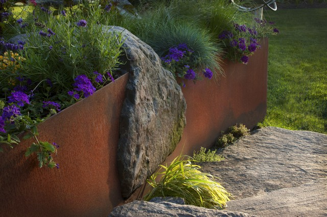 Steel and stone retaining walll industrial-landscape