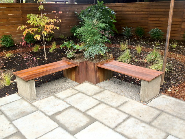 Elegant Steel Planter, Hardwood Bench + Architectural Paver Patio Modern Landscape