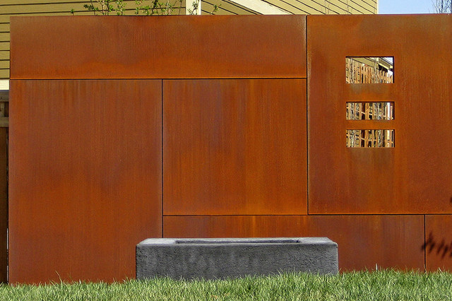 Steel Wall And Fire Pit Industrial Landscape New York By R Design Landscape Architecture